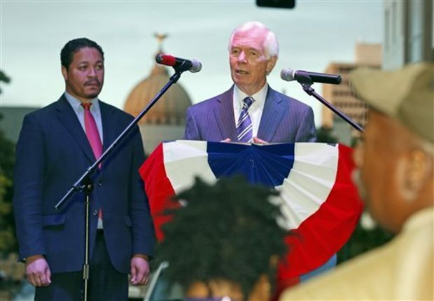 "Republican Sen. Thad Cochran tells black Mississippi voters that he remembers when they were denied the right to vote, and ""that was wrong"" during a small block party and support rally for the senior Mississippi U.S. senator, Thursday evening, Oct. 23, 2014 in downtown Jackson, Miss. The event was sponsored by All Citizens of Mississippi, a political action committee that has bought ads promoting Cochran to black voters. (AP Photo/Rogelio V. Solis)"