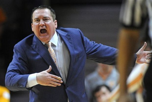 Tennessee head coach Donnie Tyndall shouts from the sideline during Tennessee's 56-38 loss to Alabama during the second half of an NCAA basketball game at Thompson-Boling Arena in Knoxville, Tenn. on Saturday, Jan. 10, 2015. Tennessee lost 56-38. (AP Photo/Knoxville News Sentinel, Adam Lau)