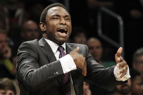 In this Dec. 4, 2012, file photo, Brooklyn Nets head coach Avery Johnson reacts in the second half of an NBA basketball game against the Oklahoma City Thunder at Barclays Center in New York. A person familiar with the negotiations says Alabama has offered its men's basketball job to former NBA coach Johnson. The person spoke to The Associated Press Sunday on condition of anonymity because no announcement has been made about the coaching search. (AP Photo/Kathy Willens, File)