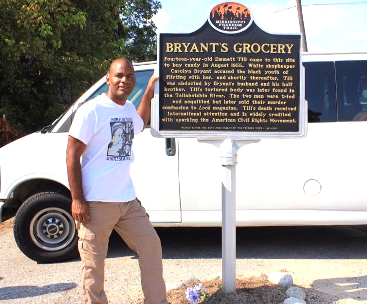 Commemorating the 60 year anniversary of Emmett Till's murder, Jackson Councilman De'Keither Stamps stands at ahistoric marker outside  Bryant's Grocery in Money, Miss. PHOTOS BY STEPHANIE JONES