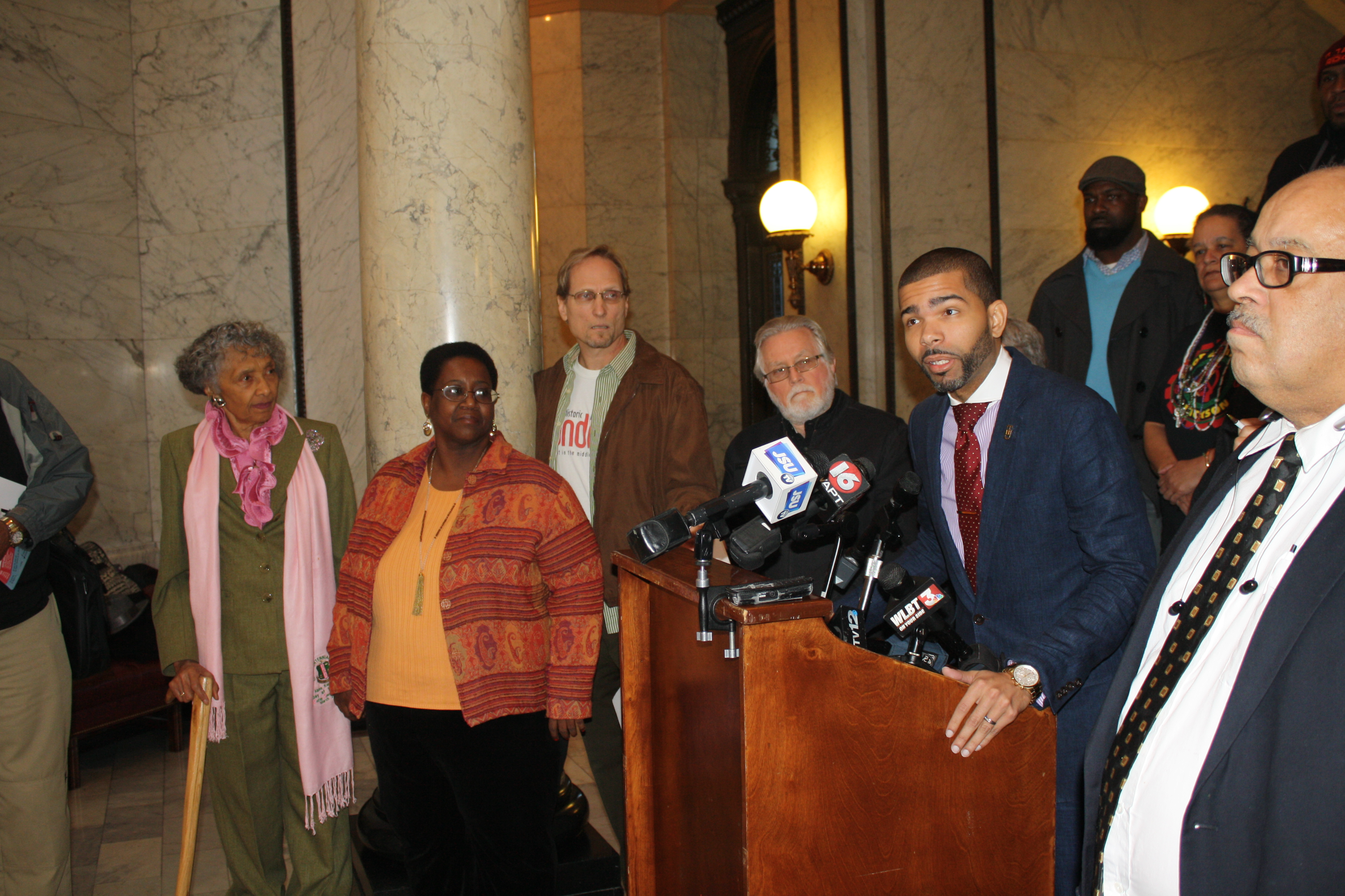 Attorney Chokwe Lumumba Jr. speaks to the media against legislation allowing the state to take control of the Jackson-Medger Wiley Evers International Airport. PHOTO BY SHANDERIA K. POSEY