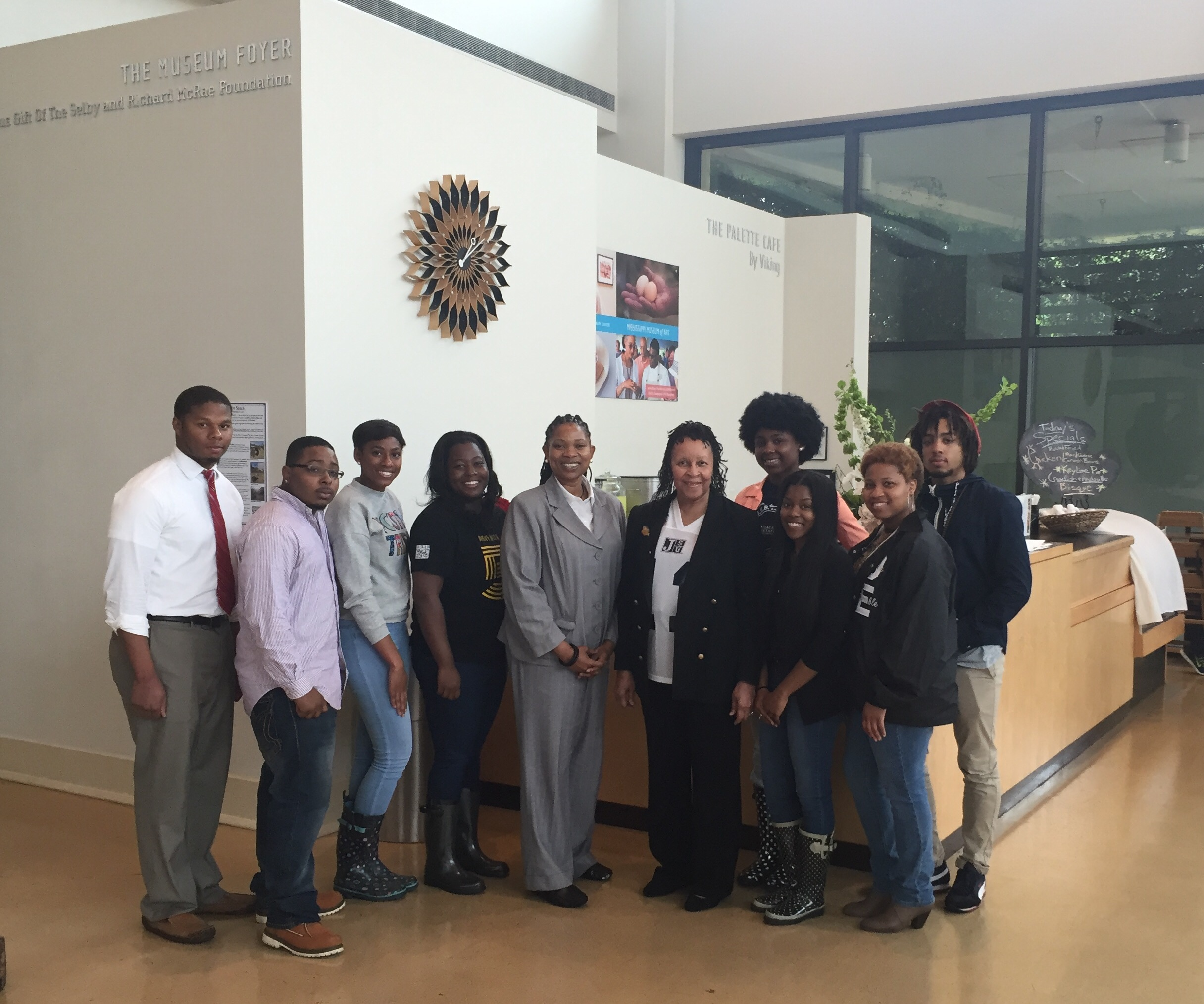 A collaborative digital project by Tougaloo College scholars and Jackson State University scholars was submitted for Storyfest competition. Pictured are (from left) Martinez Walker, Andre Carter, Jordan Hughes, Michel'le Wheatley, Shemeka Nicole Cathey, assistant professor of Political Science; Wilma Mosley Clopton, filmmaker; Amari Barrett, R'Myni Watson; (second row) Dominique Meeks and Harrison Watson.