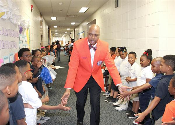 Trammell leading the Callaway High School Senior Walk in the spring at North Jackson Elementary.