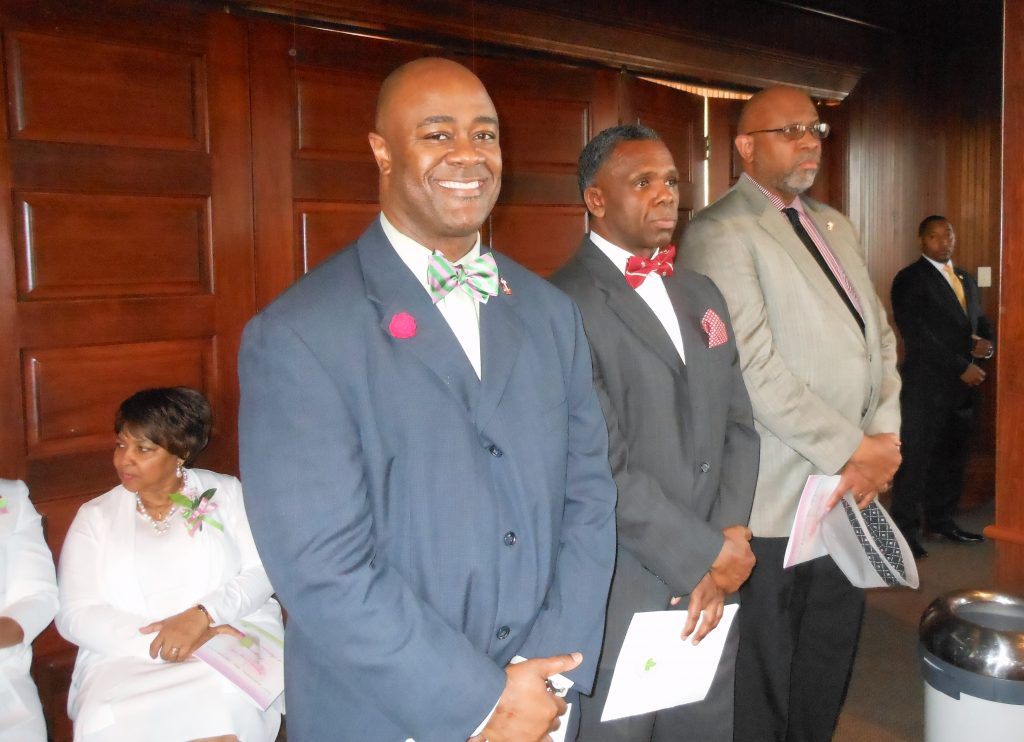 Robert Lock, Floyd Baker and Edward Wiggins Jr. at Founder's Day program.