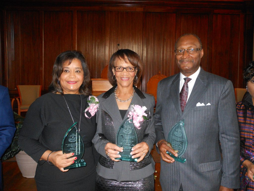 Award recipients Dr. Jasmin O. Chapman, CEO of Jackson-Hinds Comprehensive Health Center, Jackie Hampton, publisher of The Mississippi Link, and Jerry Young, pastor of New Hope Baptist Church