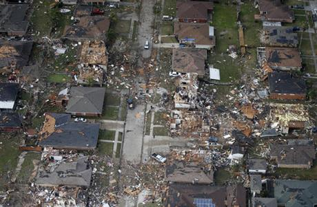 Destroyed and damaged homes are seen in this aerial photo after a tornado tore through the eastern neighborhood in New Orleans, Tuesday, Feb. 7, 2017. Gov. John Bel Edwards has declared a state of emergency for Louisiana after a severe storm moved across the state's southeast corner, including the parishes of Ascension, Livingston, Orleans, St. James, St. Tammany and Tangipahoa. (AP Photo/Gerald Herbert)