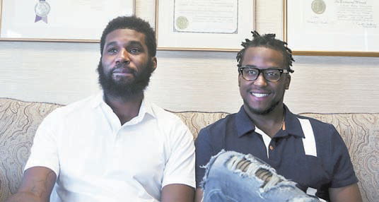 Rashon Nelson and Donte Robinson in their attorney's offi ce in Philadelphia. AP/FILE PHOTO