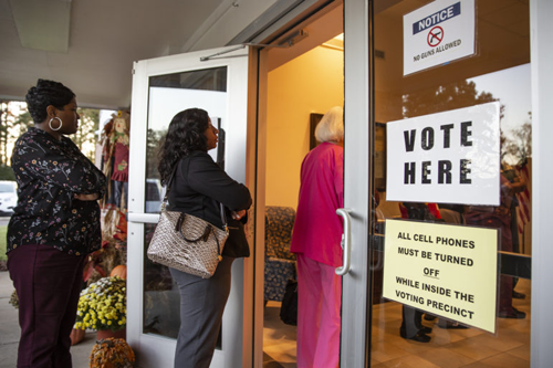 Voters wait to vote at Byram City Hall during the midterm elections Tuesday, November 6, 2018. Eric J. Shelton, Mississippi Today/ Report for America